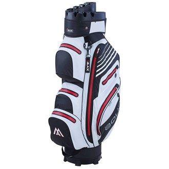 BIG MAX Aqua I-Dry Silencio Golf Cartbag - 100% Wasserdichte Golftasche (Schwarz-Weiss-Rot)