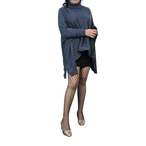 Damen Strick-Poncho Pulli winter Mantel Damen Pullover Top JY-3 PO201601 02 Blau