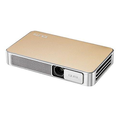 vivitek Qumi Q3 Plus, kompakter LED-Projektor im Taschenformat mit integriertem Akku, 500 Lumen, Wireless, 1280x720 Pixel, 8GB interner Speicher, HDMI und USB Eingang, gold