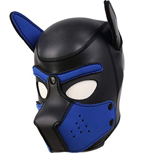 AmaMary Hundemaske,Weiche Latex Hundemaske mit Ohren Männer, Frauen, perfekte Hundekostüme für Cosplay Maskerade (Blau neu) (Hause Halloween-kostüm Einfach Zu)