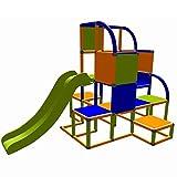 move and stic Helge großer Spielturm / Kletterturm mit Rutsche für Kleinkinder (orange blau apfelgrün)