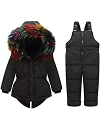 4bef586b68 ZPW 2018 New Baby Boy Girl Snowsuit Winter Down Coat Snow Bib Pants  Colorful Fur