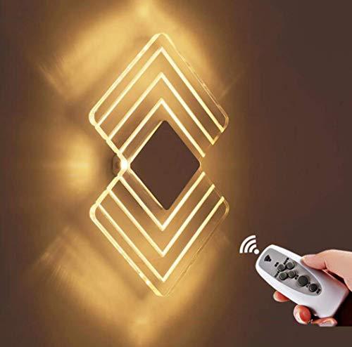 Moderne Acryl Wandleuchte, 6W LED warmes Licht dimmbare Wandleuchte mit Fernbedienung Timer, Wandleuchte Leuchte für Schlafzimmer Bett Flur, 110-240V