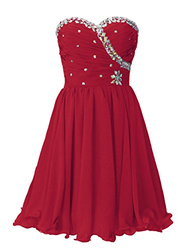Dresstells Damenmode Knielang Chiffon Herzförmig Abiballkleid Cocktailkleid Mit Applikation Dunkelrot