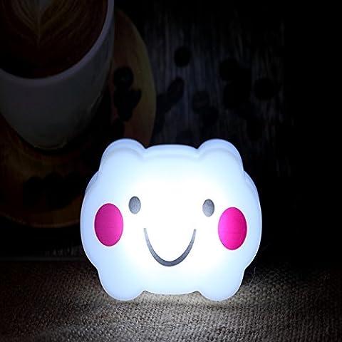 HJHGE Regalos de Navidad creativa detección de control de luz de las habitaciones están decoradas con una lámpara de mesilla corredor de tránsito para el ahorro de energía LED luz de noche la luz pequeña sonrisa , Cloud White