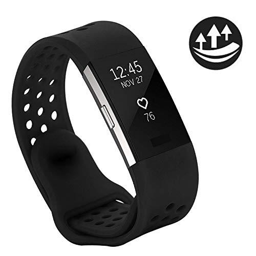YOMETOME Für Charge 2 Armband Original, Weiche Silikon Uhrenarmband für Sport und Ersatz Klassisch Armband für Charge 2