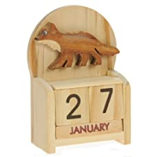 Fox Perpetual Calendar : Handcrafted Wood : Size 10.5x7x3.5cm : Top Gift Idea : Traditional Present For Children, Kids, Boys, Girls, Him, Her & Fun Loving Adults! : 50+ Garden Bird, Animal & Transport Designs
