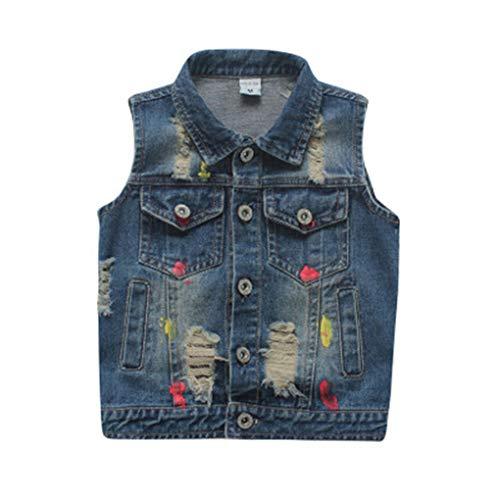 Tiankers Frühling Jungen Cowboy Weste Mädchen Ripped Denim Westen Weste Jeans ärmellose Jacken Outwear Kleidung 4T -