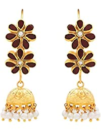 Ahilya Jewels Jhumki collection .925 Sterling Silver Gold Plated Jhumki Earrings