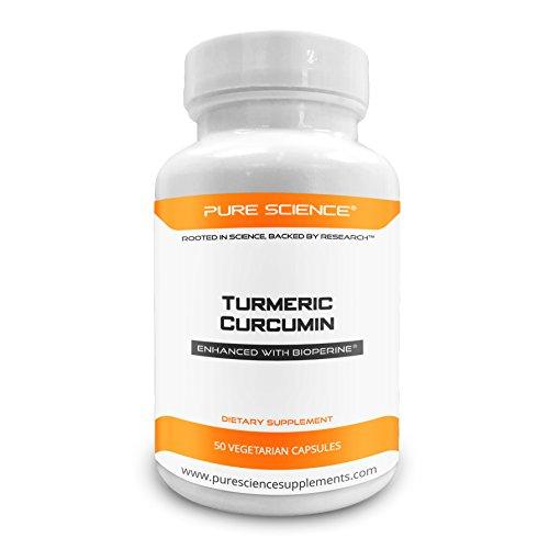 Radice di Curcuma Longa o Turmerico della Pure Science da 600mg con Turmerico S.E. Curcuminoidi al 95% (50mg) e BioPerine (5mg) per un Assorbimento Massimo – Senza Glutine – Integratore Naturale Anti-Infiammatorio e Antiossidante – 50 Capsule Vegetariane