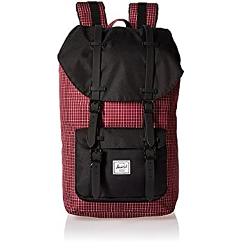 Sac à dos Herschel Little America Windsor Wine Grid/Black/Black Rubber rouge SIq7qe2l8