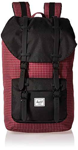 Herschel Little America Rugzak Windsor Wine Grid/Black/Black Rubber