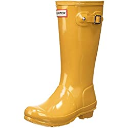Hunter Gloss Wellington Boots, Botas de Agua para Niñas, Amarillo (Yellow/ryl), 32 EU