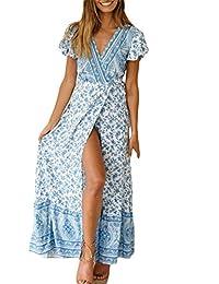 f5edea0f8e Vestido Mujer Bohemio Largo Verano Playa Fiesta Floral Manga Corta Cuello  en V Talla Split Wrap