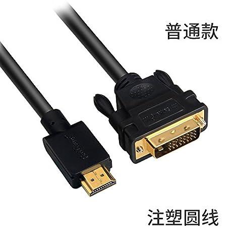 SJMM Câble HDMI vers DVI, TV ordinateur ligne Ligne de connexion HDMI, ligne, ligne de conversion haute définition, PS3,adaptateur standard (transfert bidirectionnel),15 mètres