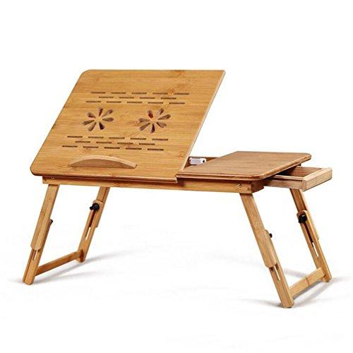 Höhenverstellbarer Laptoptisch mit Lüftungslöcher klappbarer Betttisch mit Schublade, Notebooktisch für - Laptop Holder Cup Desk