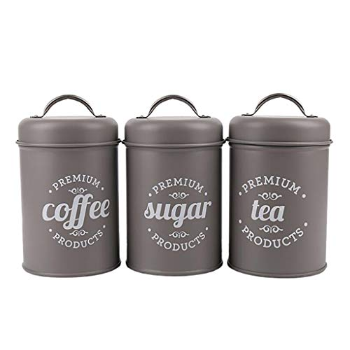 Baoblaze 3pcs Vorratsdose Küche Kanister Set mit Deckel, Essen Container für Mehl, Kaffeebohnen, Zucker, Tee und Gewürze - Grau