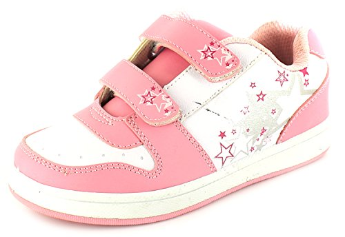 Princess Stardust New Girls/Childrens White/Pink Twin Touch Fastening Trainer - White/Pink - UK Sizes 1-13