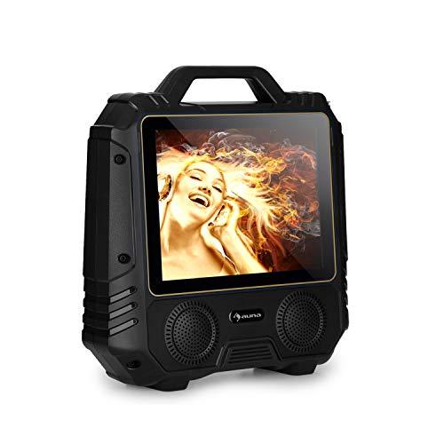 auna CenterStage 4 - mobiles Karaoke-System mit Bluetooth und Funk-Mikrofon, Mikro Edition, 30 W RMS, Karaoke-Lautsprecher Anlage, 14.1\'\' Farbdisplay, USB, MicroSD-Slot, Lithium-Akku, schwarz