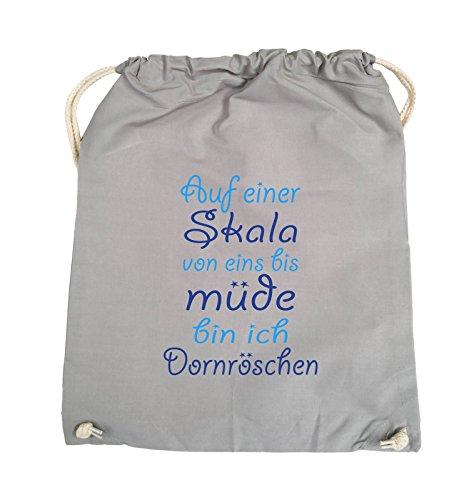 Comedy Bags - Auf einer Skala von eins bis müde bin ich Dornröschen - Turnbeutel - 37x46cm - Farbe: Schwarz / Weiss-Neongrün Hellgrau / Hellblau-Royalblau