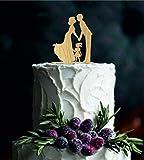 Queen54ferna Décoration de gâteau de Mariage pour mariée et marié avec Petite Fille, Silhouette Rustique pour gâteau de Mariage