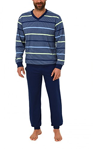 Eleganter Herren Frottee Pyjama Schlafanzug mit Bündchen in toller Streifenoptik - 62055, Größe2:52, Farbe:grün
