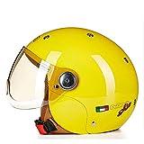 Geyao Kinderhelm Nette Vier Jahreszeiten Motorrad Elektrische Schutzhelm Kind Junge Mädchen Sommer Männer Und Frauen Baby (Color : Yellow)