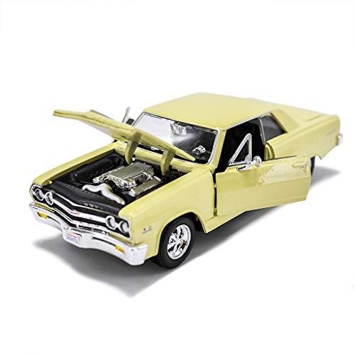IVNGRI-Auto Model Automodell 1:24 Malibu 1965 Simulation Legierung Hochdetaillierter Roadster Modell-Druckguss Spielzeug - Gelb (Nissan Kit Model Auto)