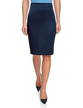 oodji Ultra Mujer Falda-Lapiz de Tejido Texturizado