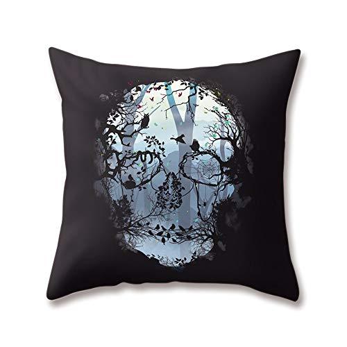 Hengjiang Weicher Plüsch mit Kunst-Totenkopf mit Rock-Ghost Specter Malen 18x 18/45x 45cm aus Weichem Plüsch mit Deko-Kissenbezug für Zuhause Sofa Bett, Polyester, 08, 45 cm*45 cm