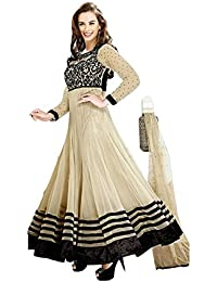 FabDiamond Women's Faux Georgette Dress Material (Evelyn Sharma_beige)