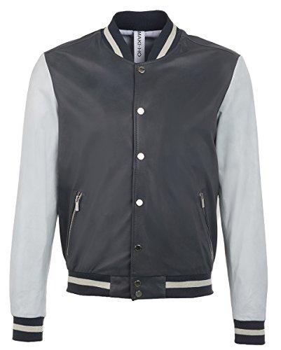 Collegio Hamaki da uomo giacca in pelle grigio antracite Grey - Grey XL