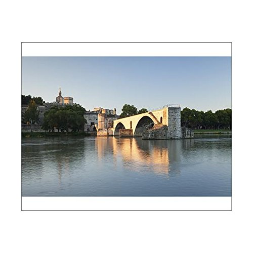 20x16 Print of Bridge St. Benezet over Rhone River with Notre Dame des Doms Cathedral (11780519)
