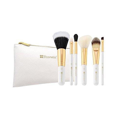BHCosmetics Blanc Lumineux – 6 pièces Ensemble de brosse avec trousse cosmétique