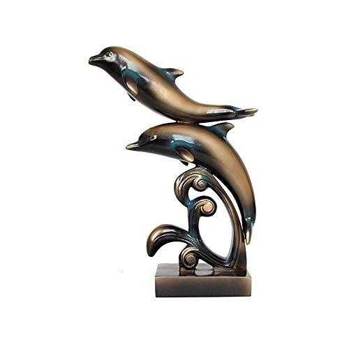 QiXian-Craft Europäischen und Amerikanischen Stil Harz Delfin Dekoration Hause Multi-Funktions-Dekoration Modernen Minimalistischen Kreative Harz Handwerk Bedeutung Schöne Geschenke, b, Einheitsgröße