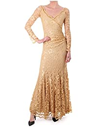 Kevan Jon H Dress In Stretch Lace Gold