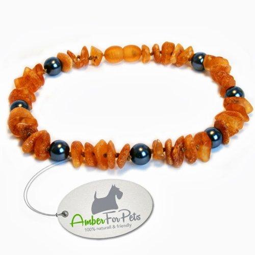 Bernstein Halsband für Hunde und Katzen Bernsteinkette Zeckenhalsband Zeckenschutz 26cm