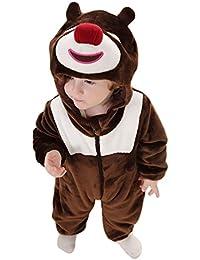MissFox Unisexe Bébé Costume Hoodie Grenouillère Animal Cosplay Onesie Pyjamas Pour Halloween Fête