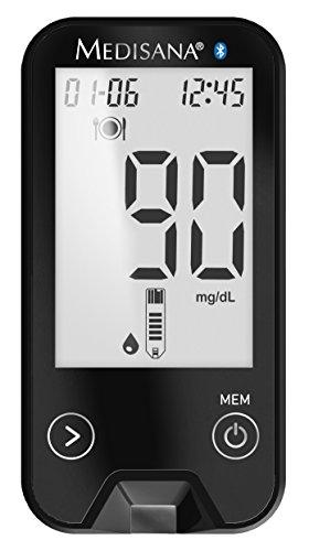 Medisana MediTouch 2 Connect Dual Blutzuckermessgerät mg/dL und mmol/L - inklusive Starterset - Blutzuckermesssystem für Diabetiker - Messung des Blutzuckerspiegels bei Diabetes Carbon-Edition - 79062