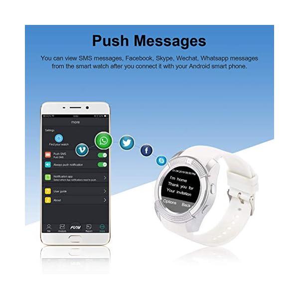 Tipmant Reloj Inteligente Mujer Hombre SN08 Smartwatch Pantalla táctil con Ranura para Tarjeta SIM Cámara Podómetro Pulsera de Actividad para Smartwatch para Xiaomi Samsung Huawei Android (Blanco) 3
