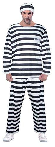 Sträfling Kostüm Verkleidung - Sträfling-Design - Einheitsgröße (Sträfling Kostüm Herren)