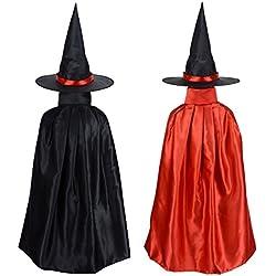Capa y sombrero de bruja para niñas.