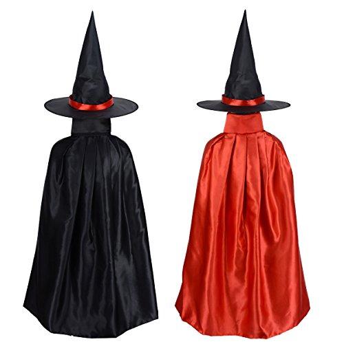 Hexenkostüm, zweiseitig, Schwarz, für Halloween, Satin, Umhang mit Hut (Halloween-superheld Ideen Für Kostüme)