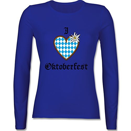 Oktoberfest Damen - Oktoberfest Love Edelweiß - tailliertes Longsleeve / langärmeliges T-Shirt für Damen Royalblau