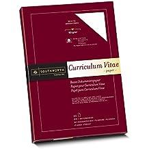 Southworth 90010 Dokumenten Papier, 100% Baumwolle, mit Wasserzeichen, DIN A4, weiß, 90g/qm, Karton enthält 80 Blatt