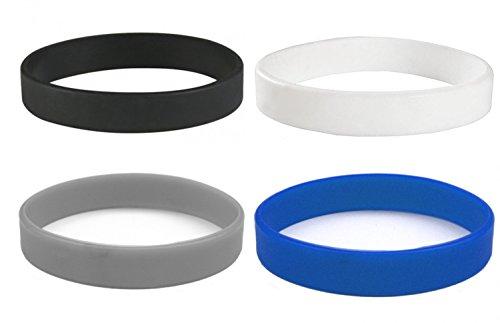 4 Silikon Armbänder (Blau Schwarz Grau Weiß) für Damen Herren | Unisex Fitness Accessoire Silikonarmband | Powerarmbänder als Schmuck | Beyond Dreams