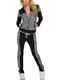 jowiha–® Traje de entrenamiento para mujer Ocio Traje Chándal para algodón estilo Leopard
