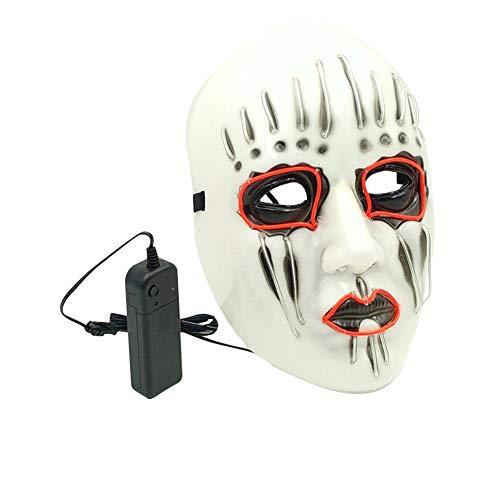 Led Maske Maske leuchtenden El Maske Halloween Kostüm Schädel voller Gesichtsmaske Horror Skelett cosplay Masquerade scary el Draht führte Licht blinkende Maske Glühen in dunkel für Karneval ()