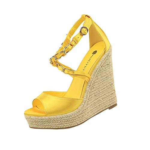 SHE.White Damen Wedge Sandal Basic Plateau Sandalen Kette Kreuz Gebunden Keilabsatz Schuhe Sommer Elegant High Heels Offener Zeh Wedge Schuhe Sommerschuhe