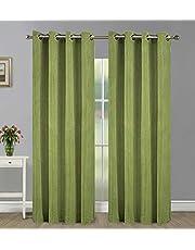 Home Candy Elegant Plain 4 Piece Polyester Door Curtain Set - 9ft